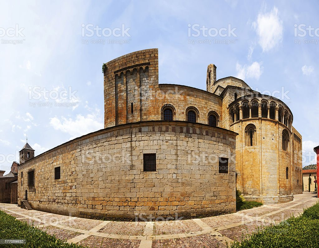 panorama of  Cathedral in La Seu d'Urgell stock photo