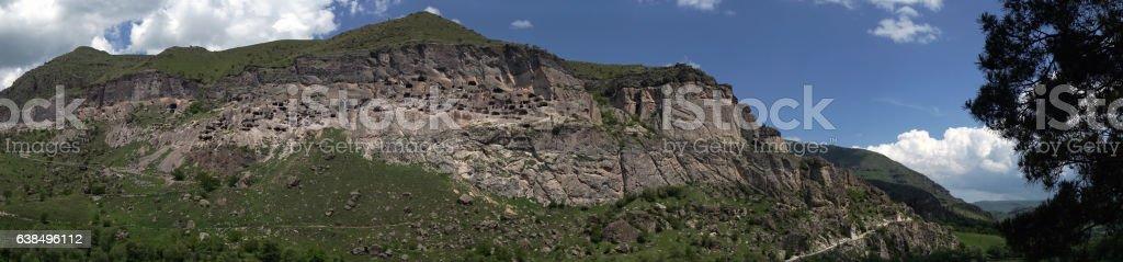 panorama of cave monastery complex Vardzia, Georgia stock photo