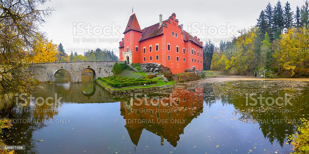 Panorama of Cervena Lhota castle stock photo