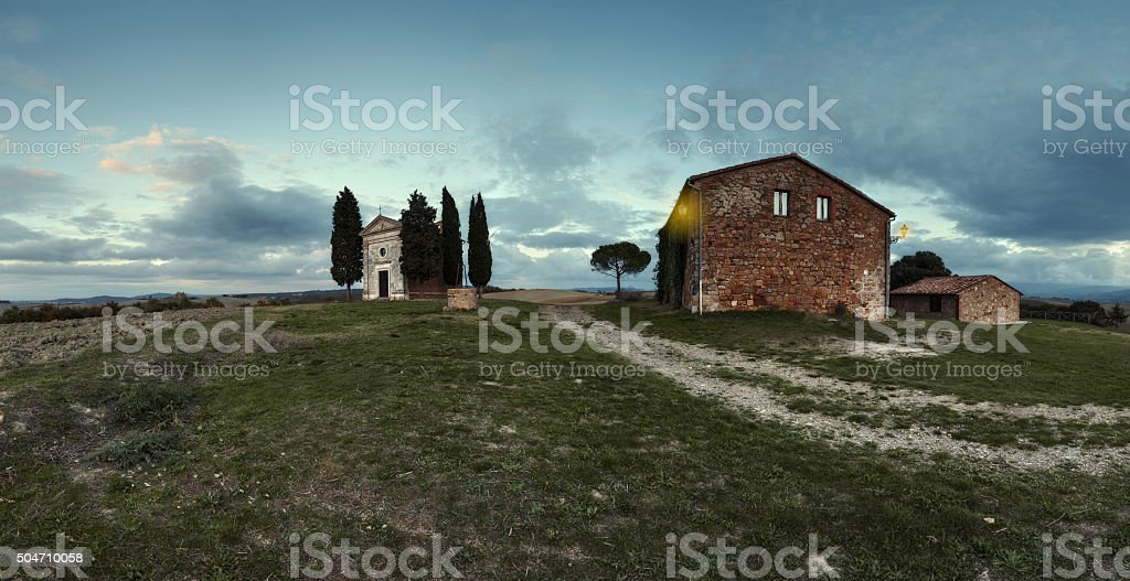 Panorama of chapel of Madonna di Vitaleta stock photo