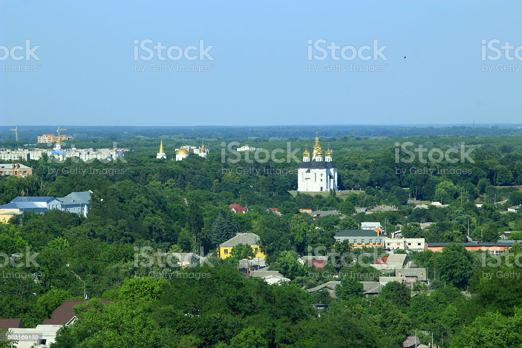 Panorama of Chernihiv town from above stock photo