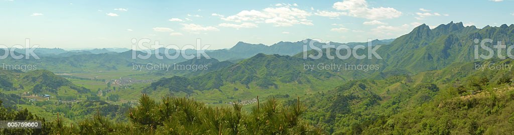 panorama of Chinese mountains stock photo