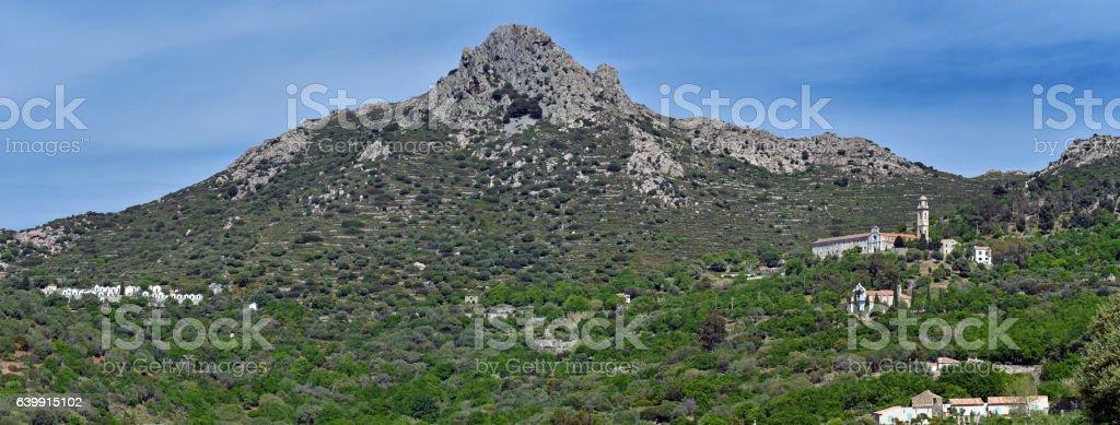 Panorama of Cima di Sant Angelo Mountain in Corsica stock photo