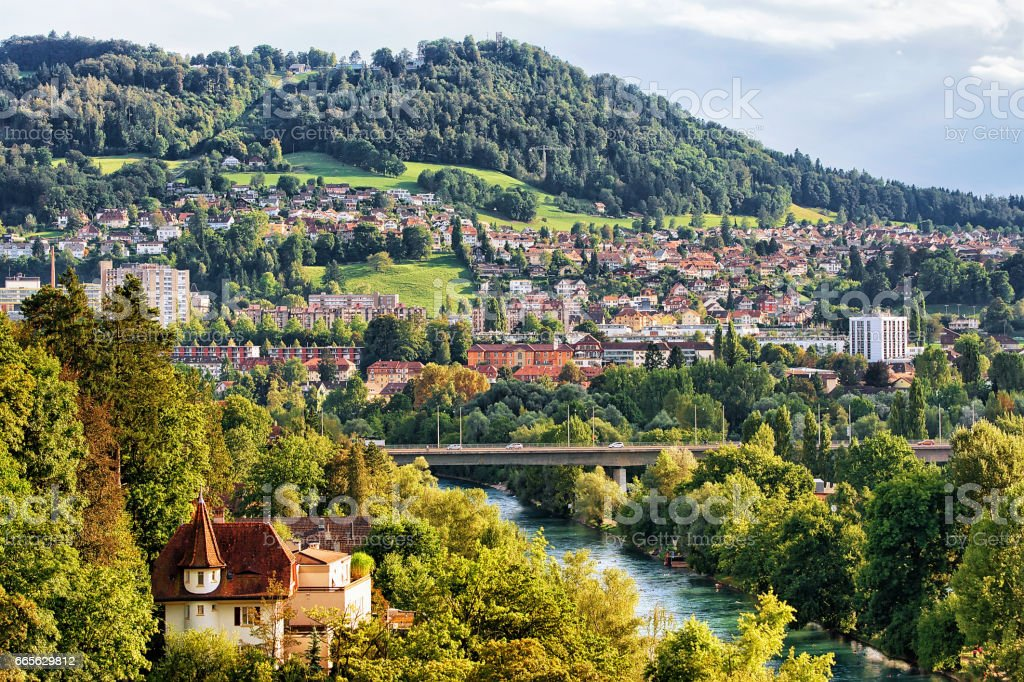Panorama of city and Aare River in Bern stock photo