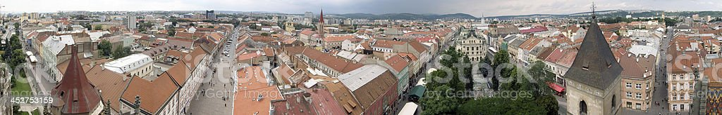 Panorama of city center in Kosice stock photo