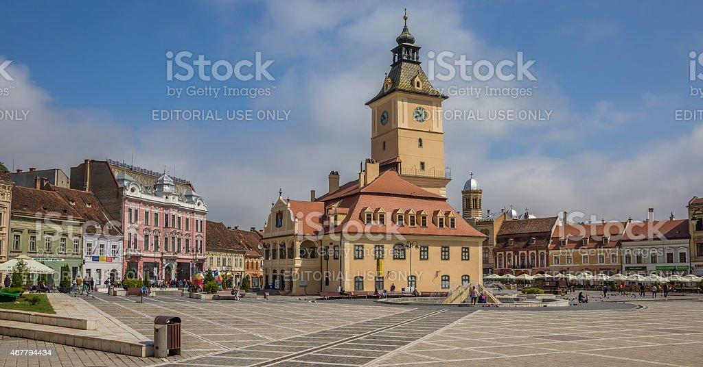 Panorama of city hall on the Piata Sfatului in Brasov stock photo
