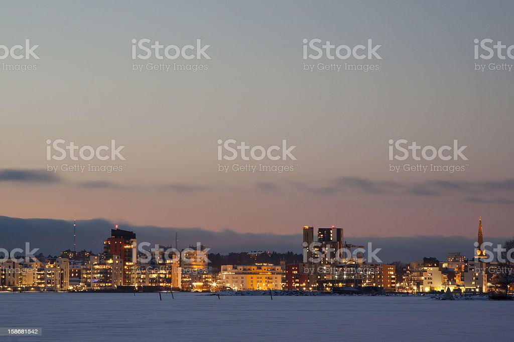 Panorama of city skyline on the water in Vasteras, Sweden stock photo