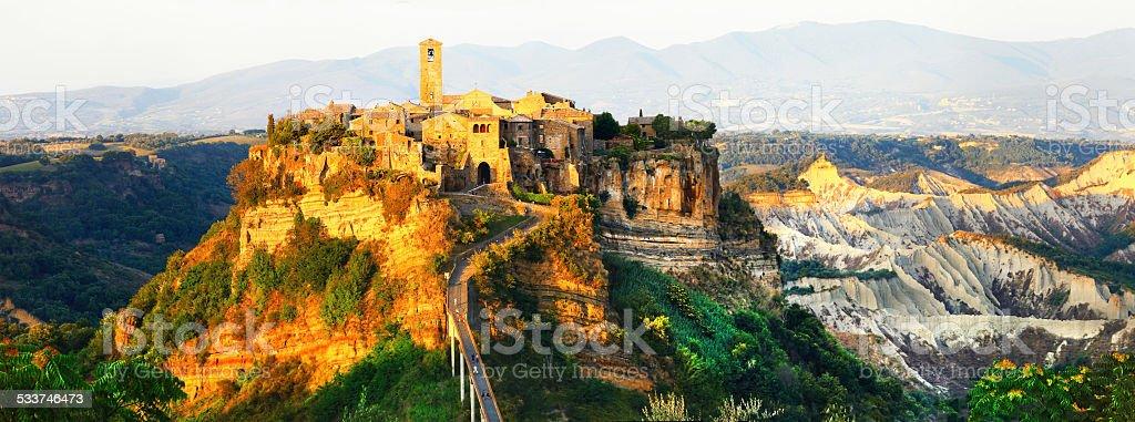 Panorama of Civita di Bagnoregio,Lazio.Italy stock photo