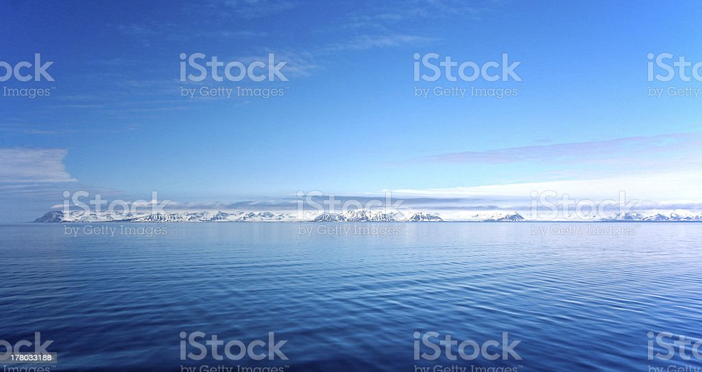 panorama of coast in Spitzbergen stock photo