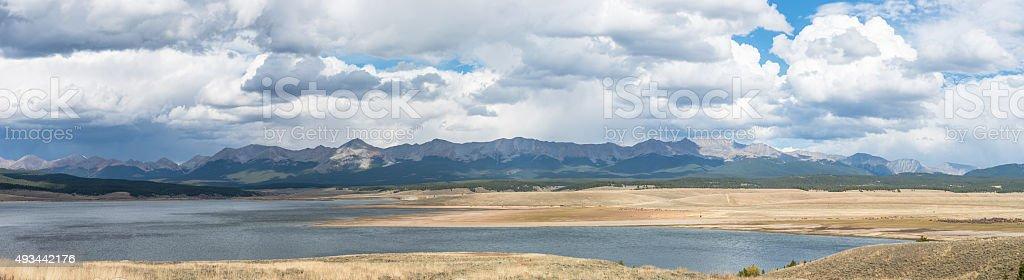 Panorama of Collegiate Peaks stock photo