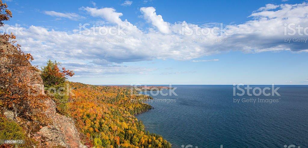 Panorama of Colorful Lake Superior Shoreline with Dramatic Sky stock photo