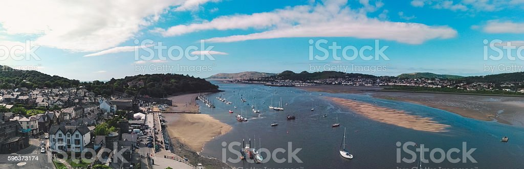 Panorama of Conwy and river from the castle stock photo