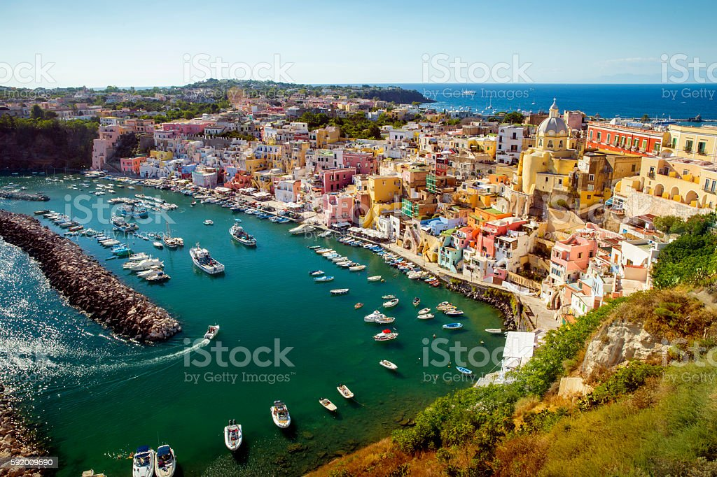 Panorama of Corricella village on Procida island, Campania, Ital stock photo