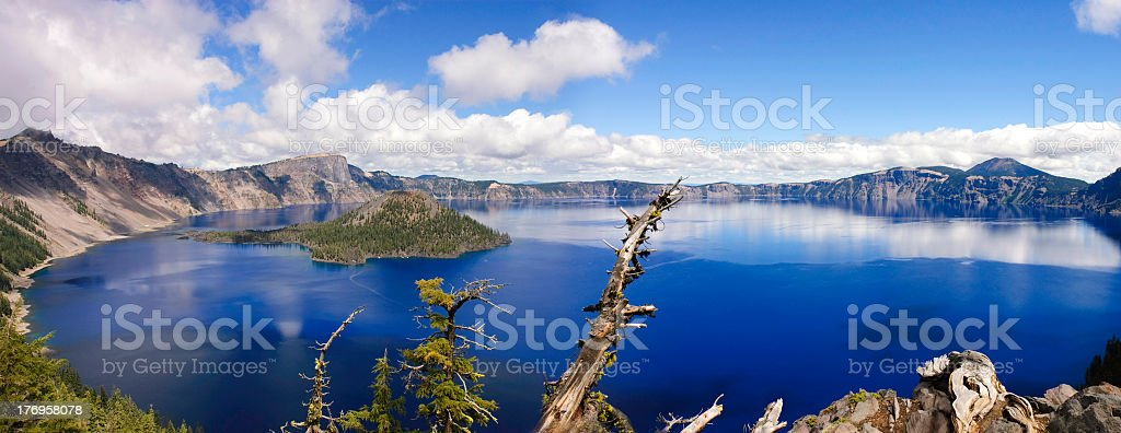 Panorama of Crater Lake in Oregon stock photo