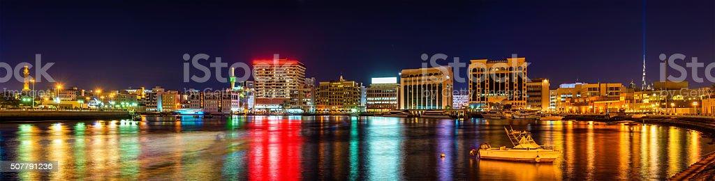 Panorama of Creek district in Dubai, UAE stock photo