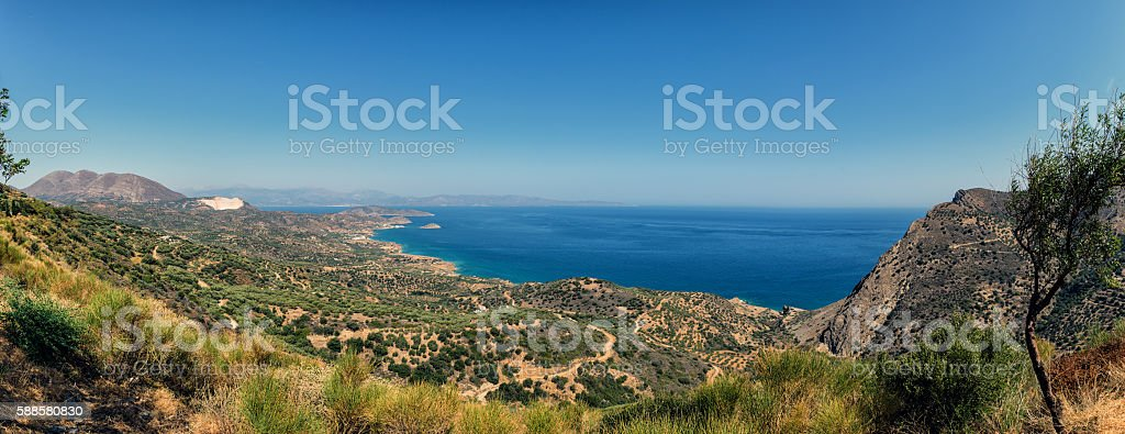Panorama of Crete island lanscape, Greece stock photo