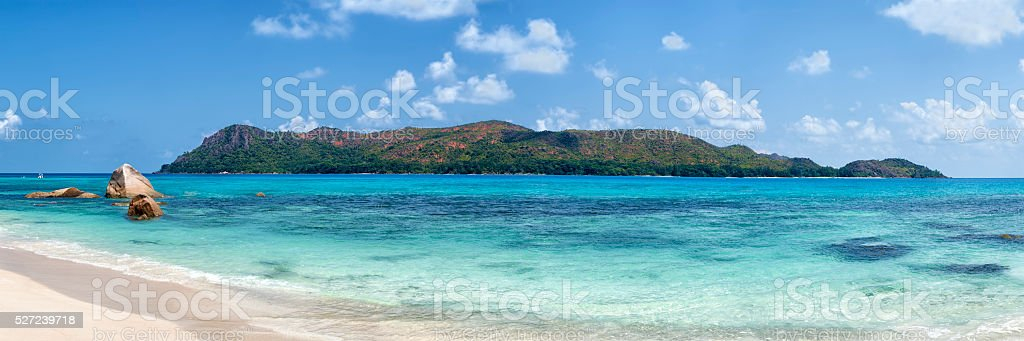 panorama of curieuse island in seychelles archipelago stock photo