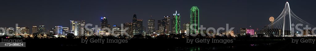 Panorama of Dallas, Texas Skyline on a clear night stock photo