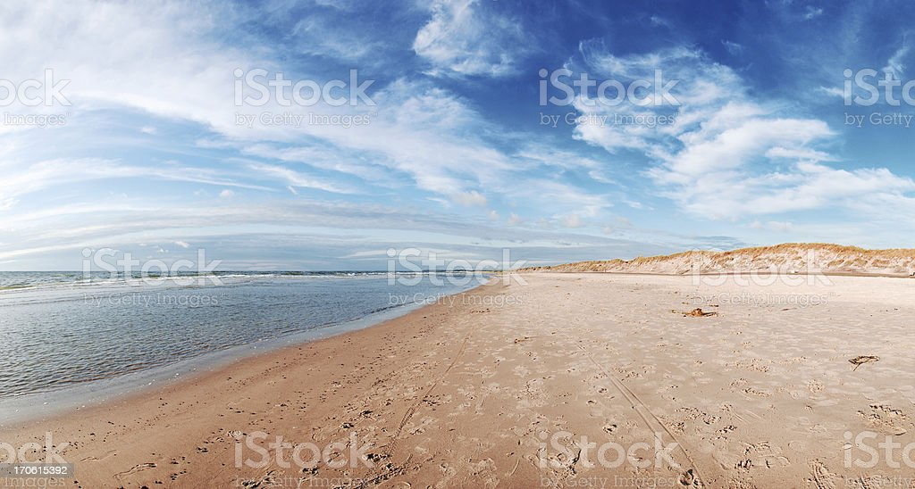 Panorama of Danish beach with blue sky and fluffy clouds royalty-free stock photo