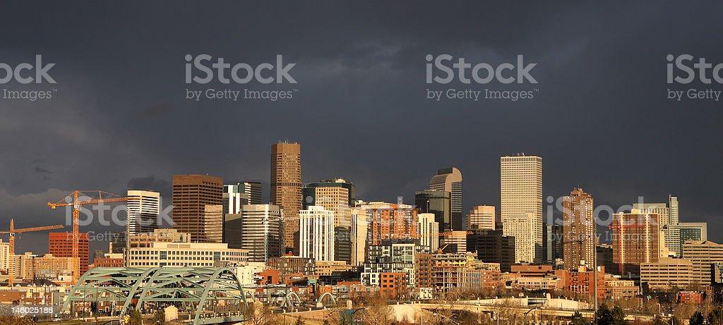 Panorama of dark clouds over Denver stock photo