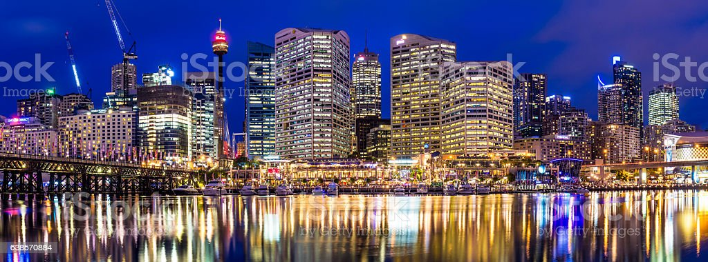 Panorama of Darling Harbour in Sydney stock photo