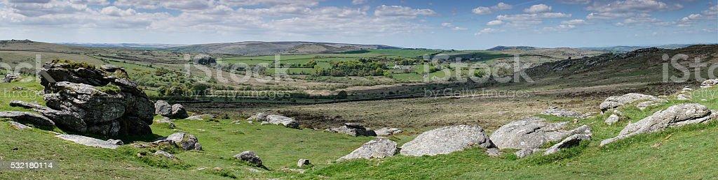 Panorama of Dartmoor landscape taken  from near Haytor stock photo