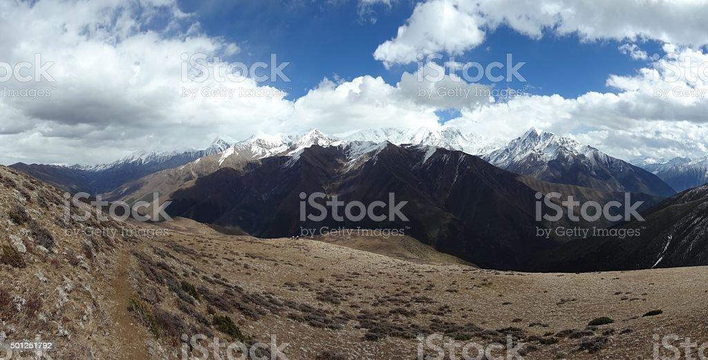 Panorama of Daxue Shan mountains, Tibet, Sichuan, China stock photo