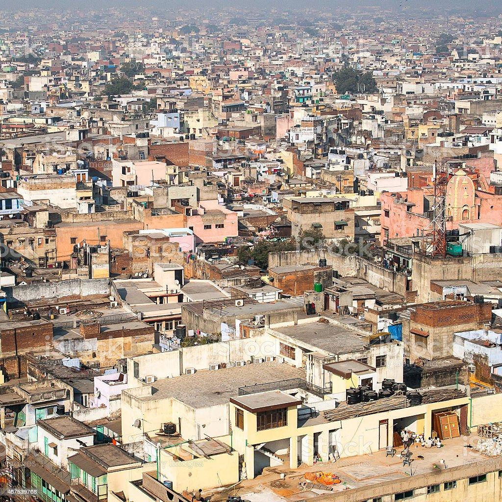 Panorama of Delhi Jama Masjid Mosque minaret stock photo