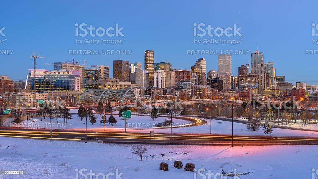 Panorama of Denver Skyline at Winter Dusk stock photo
