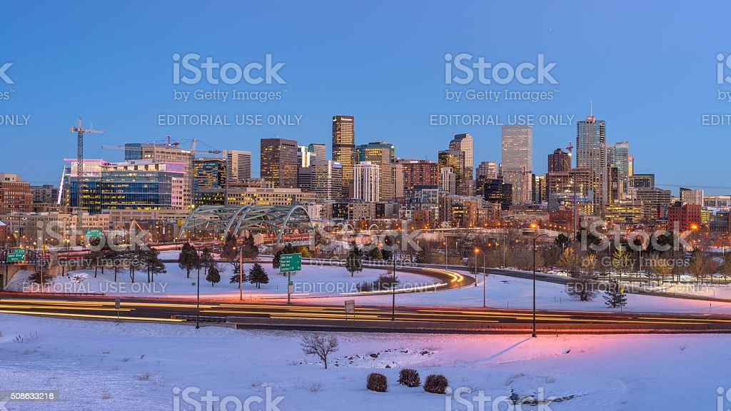 Panorama of Denver Skyline at Winter Dusk stock photo