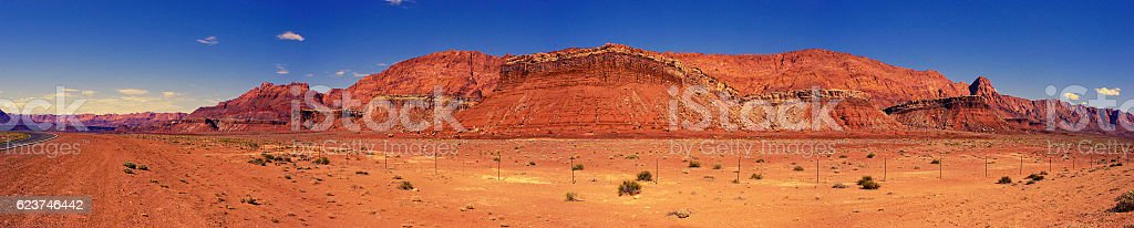 Panorama of Desert Rock Formations in Marble Canyon, Arizona stock photo