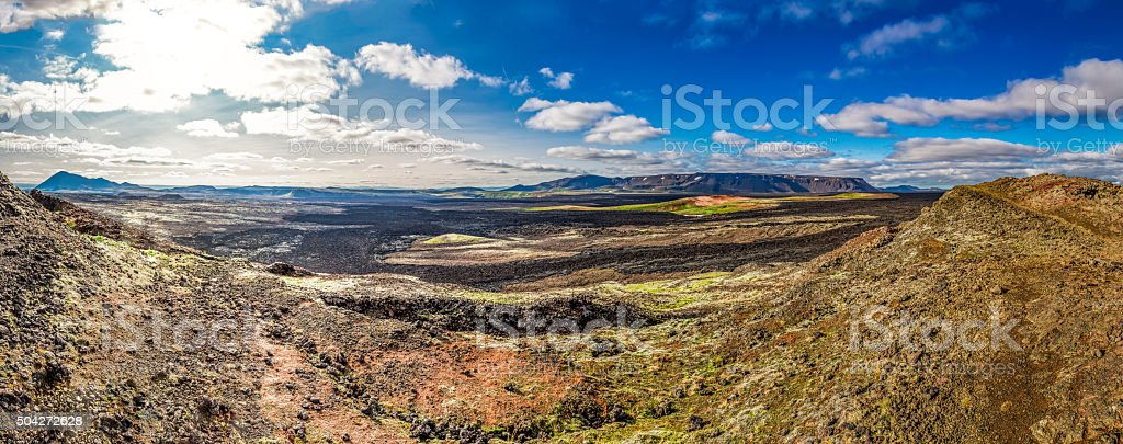 Panorama of destroyed area by lava in Iceland stock photo