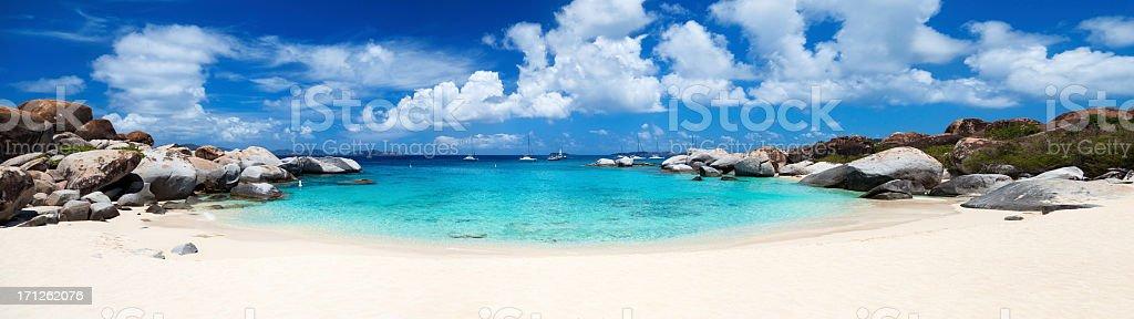 panorama of Devil's Bay beach in Virgin Gorda, BVI stock photo
