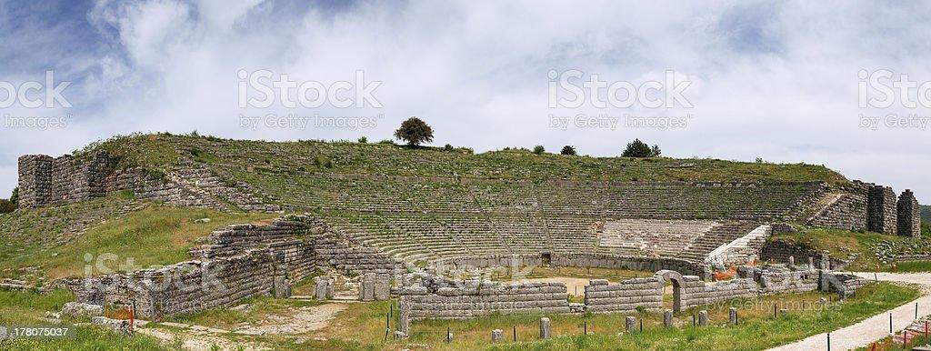 Panorama of Dodoni ancient theatre, Epirus, Greece stock photo