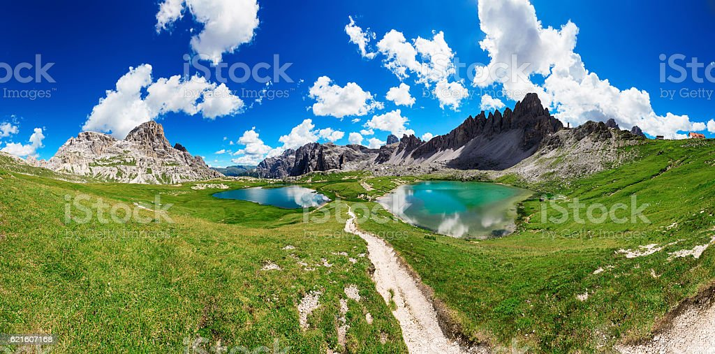 Panorama of Dolomite Alps, Italy stock photo