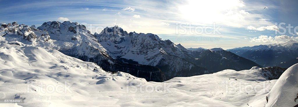 Panorama of dolomiti stock photo