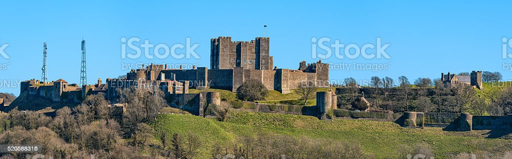 Panorama of Dover Castle in southeast England stock photo