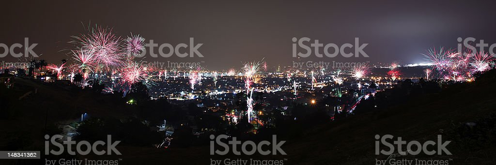 Panorama of downtown Los Angeles fireworks show stock photo