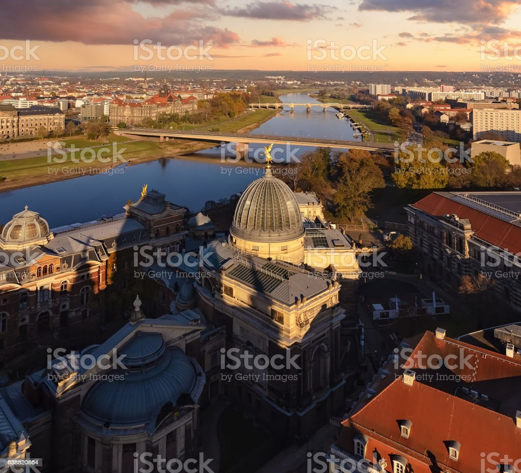 Panorama of Dresden cental part and Elbe river in sunset stock photo