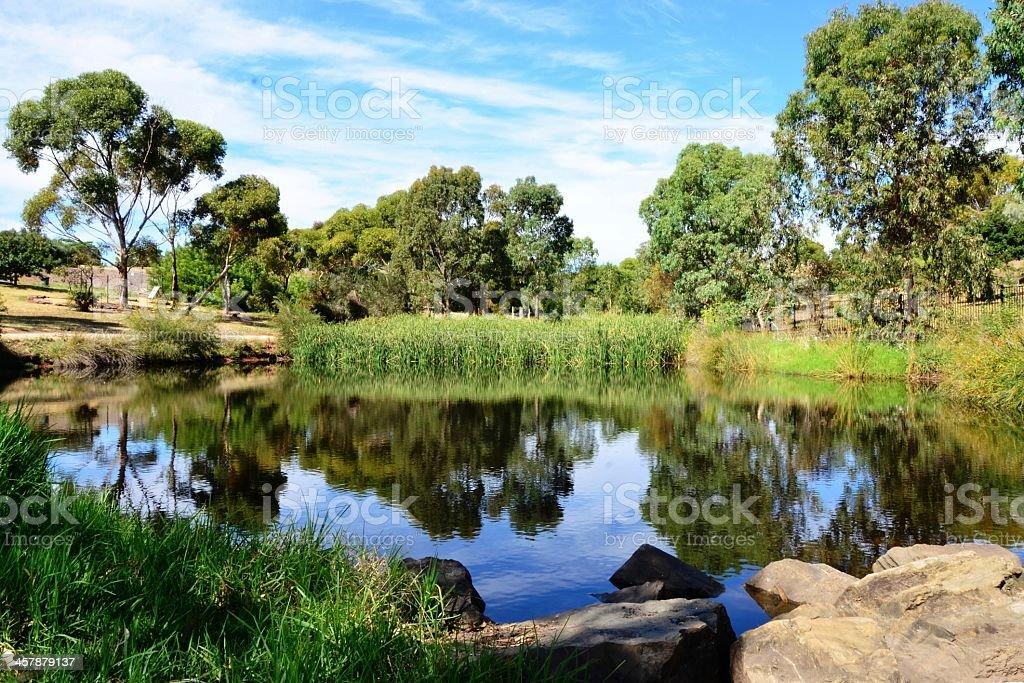 Panorama of Duck Pond, Sheidow Park, Adelaide Australia stock photo