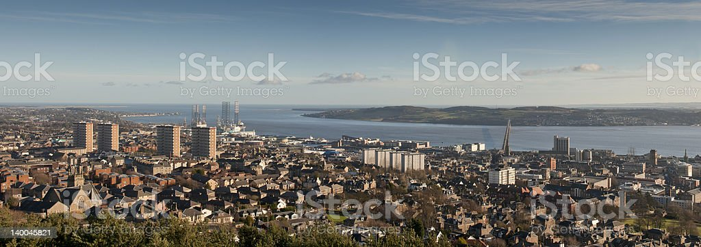 Panorama of Dundee, Scotland with the Firth of Tay stock photo