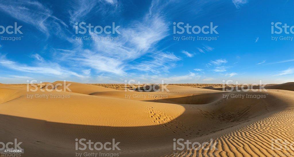 Panorama of dunes in Thar Desert, Rajasthan, India stock photo