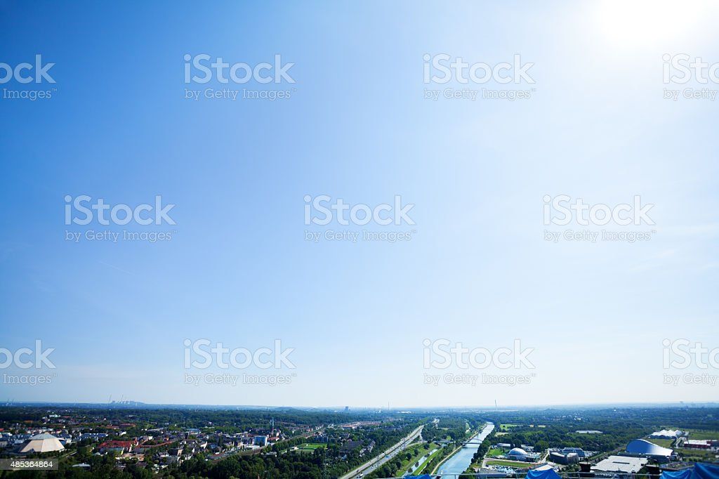 Panorama of eastern Ruhrgebiet at bright summer sunshine stock photo