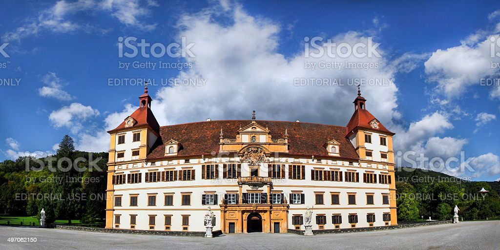 Panorama of Eggenberg castle stock photo