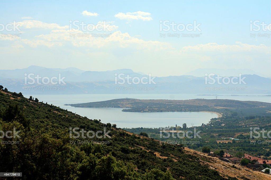Panorama of Egirdir lake, Turkey stock photo