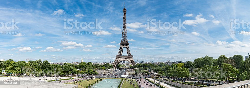 Panorama of Eiffel Tower in sunny day, Paris stock photo