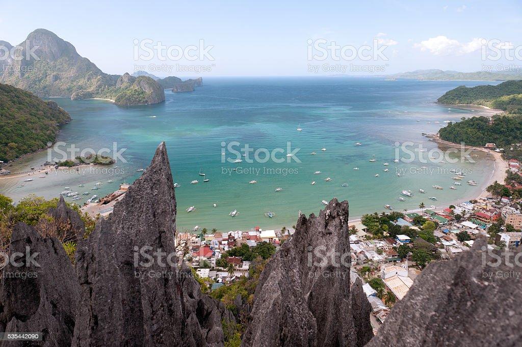 Panorama of El Nido. Palawan island. The Philippines. stock photo
