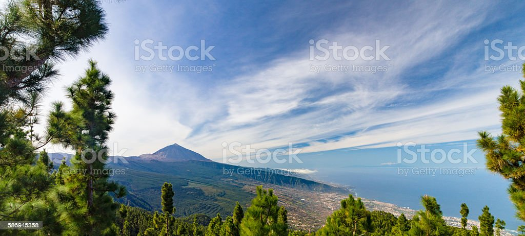Panorama of El Teide volcano and Orotava valley stock photo