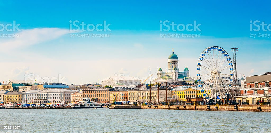 Panorama Of Embankment In Helsinki At Summer Sunset Evening stock photo