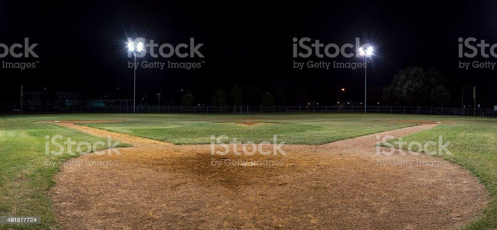 Panorama of empty baseball field at night stock photo